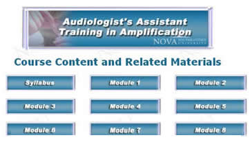 Screenshot of Audiologists Assistant Training in Amplification Course Content and Related Materials