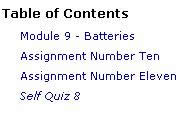 Table of Contents screenshot for course instructions