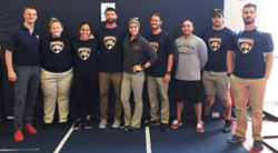 (Left to right) Tommy Powers (Panthers' Head Strength and Conditioning Coach), Kourtney Kostzer (student), Winter Rodriguez (student), Tobin Silver (NSU Assoc. Professor), Brittany Calaluca (student), Samuel Castillo (student), Eddie Reyes (Panthers' Strength and Conditioning Coach), Dan Ogle (Limitless Powerlifting), and Corey Peacock (NSU Asst. Professor)